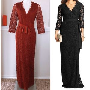 DVF LACE WRAP DRESS OX BLOOD RED NEW WITH TAG